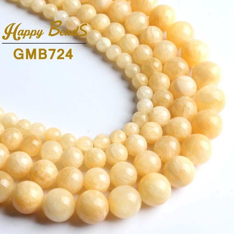 Jewelry & Accessories Expressive New Light Yellow Jades Chalcedony Gem Beads Round Loose Beads 15 Strand 6 8 10 12mm For Jewelry Making Diy Bracelet Necklace Delicacies Loved By All