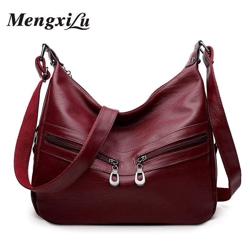 Soft Crossbody Bags For Women Pu Leather Handbags Designer Women Bag High Quality Women Messenger Bags Double Zipper Handbags