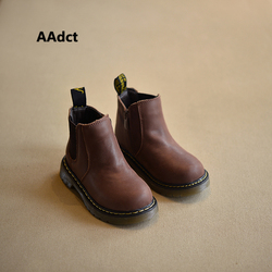 AAdct 2019 الخريف الشتاء جديد اليدوية مريحة الفتيات الأحذية الجلدية مارتن الفتيان الأحذية موضة أحذية أطفال طويلة الرقبة الأطفال الأحذية