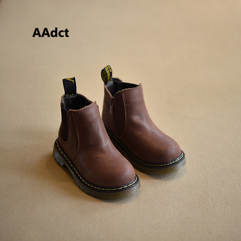 AAdct 2019 Autumn Winter New Handmade Comfortable Girls Boots Leather Martin Boys Boots Fashion Kids Boots Children Shoes