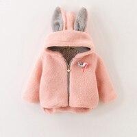 Baby Girls Clothes Hair Bulb Brooch Rabbit Ears Thickening Wool Coat Hoodie Kids Jacket