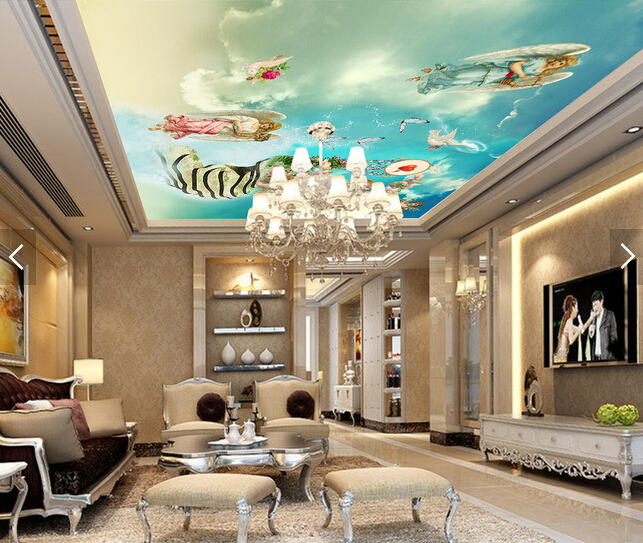 Custom ceiling wallpaper.Blue sky angel goddess murals for the living room bedroom ceiling wall waterproof vinyl papel de parede custom ceiling murals wallpaper virgin maria and angel for the living room bedroom wall waterproof pvc papel de parede
