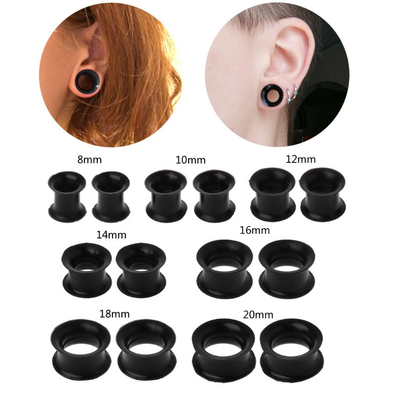 Ultra Thin Silicone Double Flared Flexible Tunnel Ear Stretch Plug Body Jewelry 8/10/12/14/16/18/20 mm image