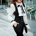 Original 2016 Brand Blusas Shirts Woman Slim Vintage Casual Long Sleeve Stand Bow Ruffles White Kimono Blouses Women Wholesale