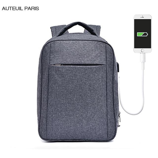 AUTEUIL PARIS New Arrival Usb Backpack Man Backpacks Unisex 15.6 Inch Laptop Notebook Mochila Backpacks 3 Colors ES1571