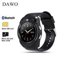 DAWO Nano SIMCard Whatsapp E Facebook Smartwatch Relógio Inteligente Rastreador De Fitness Mulheres de Negócios Para IOS Android PK DZ09 GT08