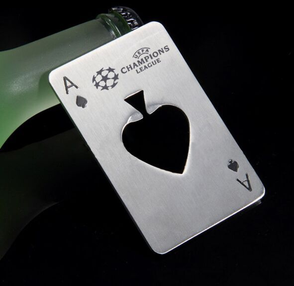 Unique Spades A With HEART shape beer openers nice quality Opener to engrave FREE with your logo and design 50pcs a lot