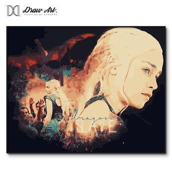 왕좌의 게임 포스터 daenerys 숫자로 그림 액자 tv 재생 성인을위한 번호로 색칠 번호 키트로 아크릴 페인트