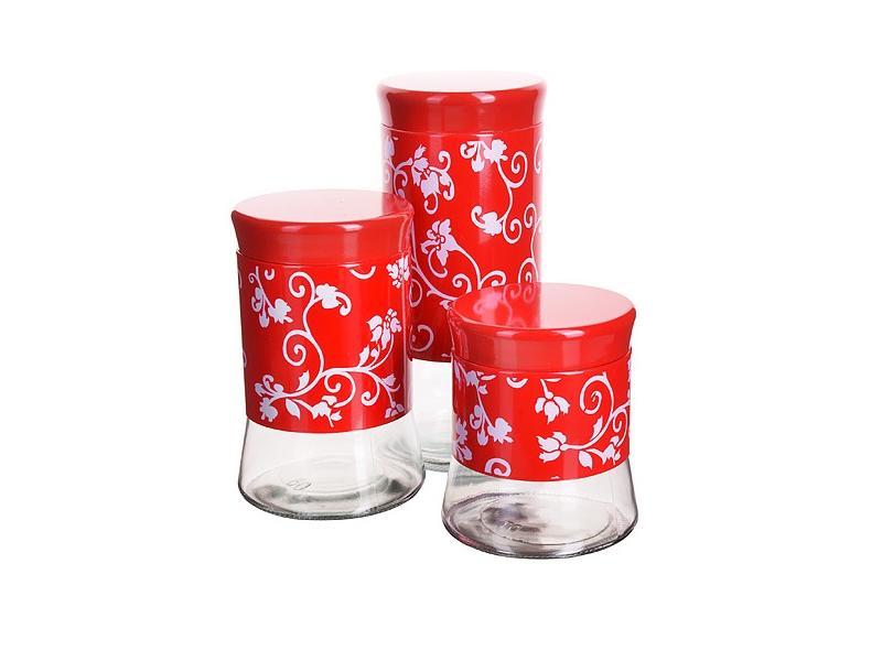 Набор банок для сыпучих продуктов MAYER & BOCH, 3 предмета, красный набор банок для сыпучих продуктов rosenberg 3 предмета