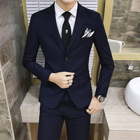 2018 spring and summer new men's shirt Slim casual business style suit youth simple fashion personality temperament tide