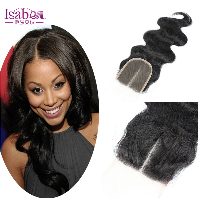 Isabel 7A Lace Closure Bleached Knots Middle/Free/Three Part Brazilian Body Wave Hair Closure brazilian Virgin Hair Lace closure