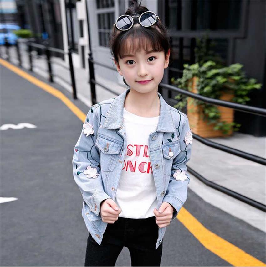 6b6835b2045 ... 2-12Years большой модная одежда для девочек с аппликацией Джинсовые  куртки пальто Детская верхняя одежда ...