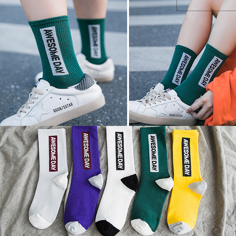 Fashion woman awesome day personality words Korean girl style   socks   meias street fashion hip hop skateboard woman long   socks