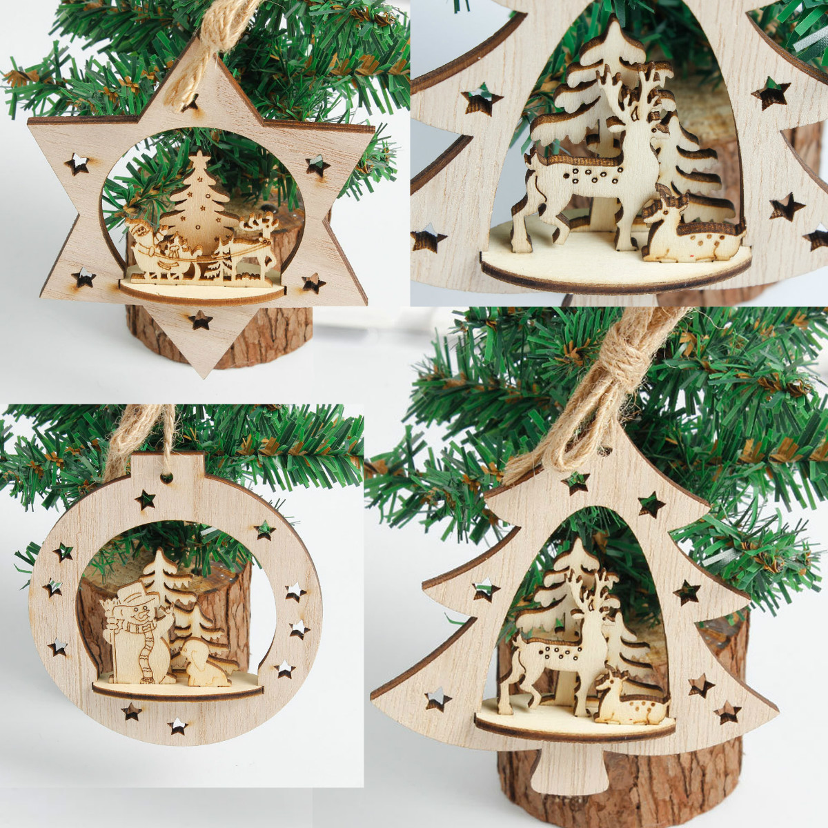 Children Christmas Tree Decorations.Us 1 97 29 Off 2019 Christmas Tree Decoration 3d Wooden Santa Elk Hanging Ornament For Home Party Decor For Children Christmas Gifts In Pendant