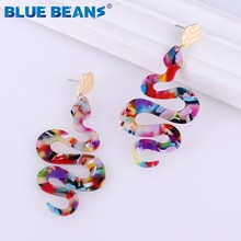 New Acrylic snake Earrings For Women 2019 Bohemian Earings Colorful Da
