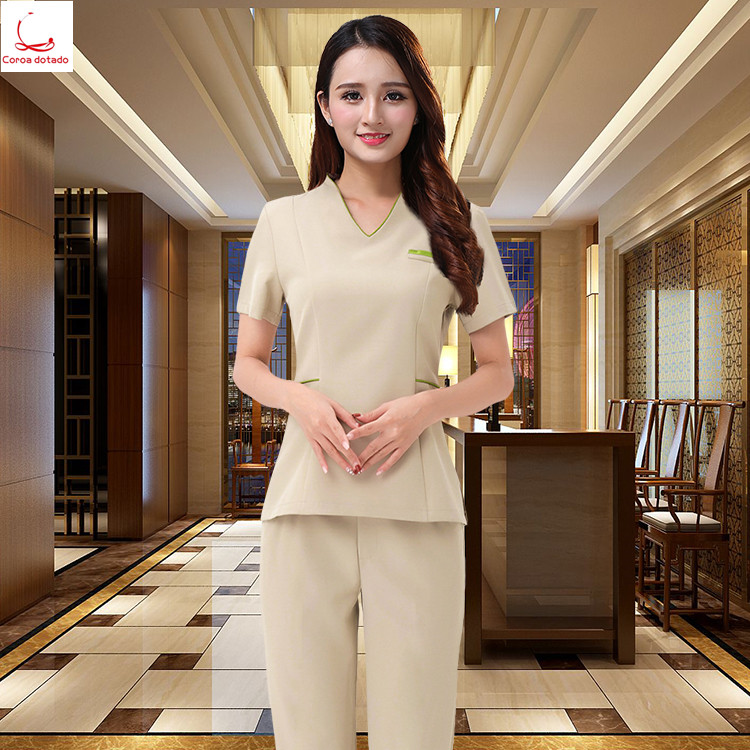 Beauty salon beautician short sleeve set foot bath work clothes massage shop overalls hotel technician pants