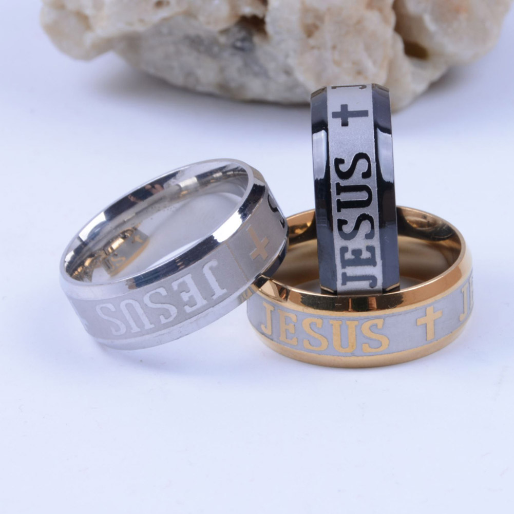 2017 Stainless Steel Finger Ring For man Jesus Rings Fashion Religious Woman Jewelry 3 colors