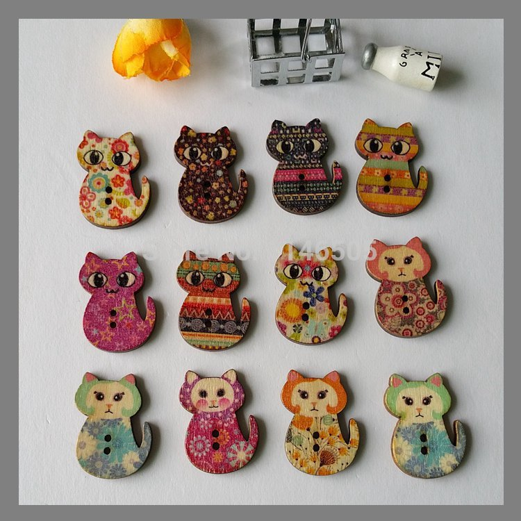 Wholesale 150pcs Mixed 2 Holes Cat natural Wooden Buttons Fit Sewing and Scrapbooking 2.1x3.0cm For rafts mixed