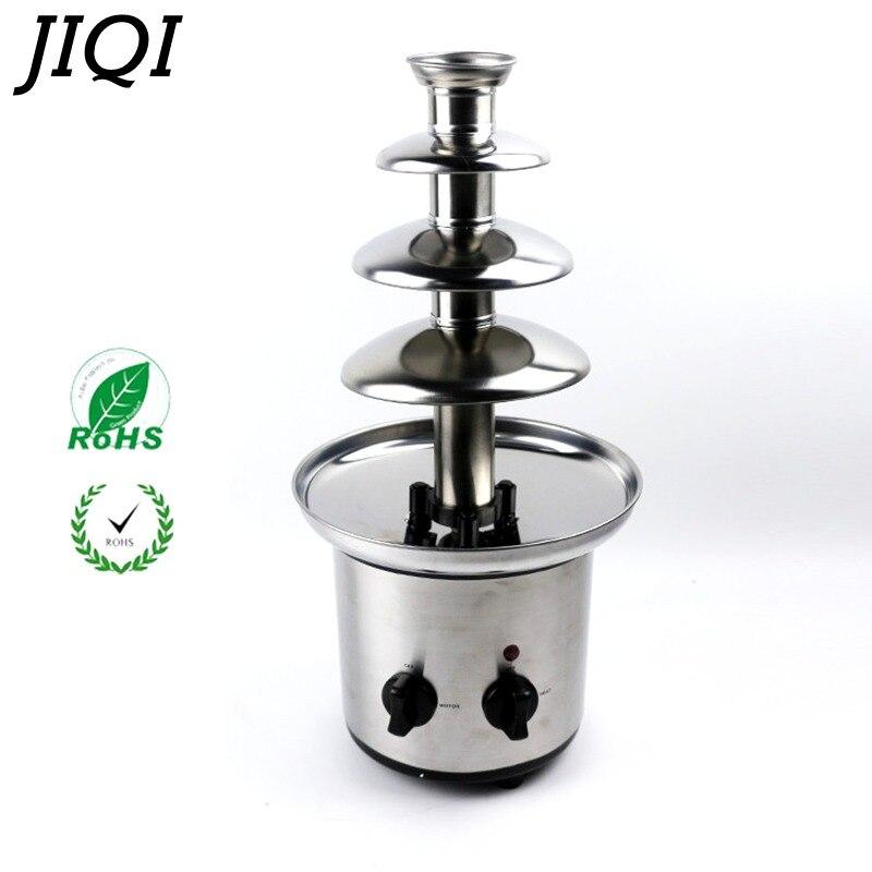 JIQI 4 яруса Электрический шоколадный фонтан машина соус нагреватель шоколадный фондю Свадьба День рождения Рождественский насос машина