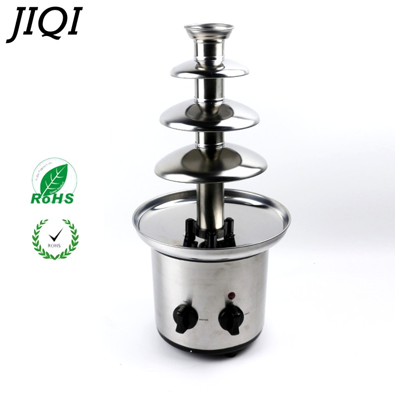 JIQI 4 Tiers Electric Chocolate Fountain maker machine Sauce heater Chocolate Fondue Wedding Birthday Christmas pump Machine недорого