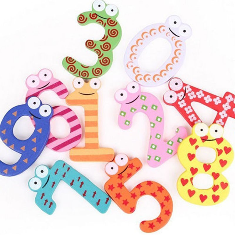 10 Pieces Sets Cartoon 0-9 Figure Number Magnet Sticker Baby Kid Educational Toy Wooden Early Learning Counting Toys