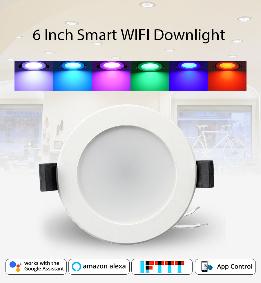 Home Automation 6 inch WiFi Bulb Led  Downlight 14w Voice Control by Alexa Echo Dot Spot Show Google Home Assistant IFTTT-in Smart Remote Control from Consumer Electronics