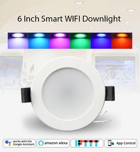 Image 1 - Inicio automatización 6 pulgadas WiFi bombilla Led Downlight Led 14 w Control de voz por Alexa eco punto mostrar Google asistente de IFTTT