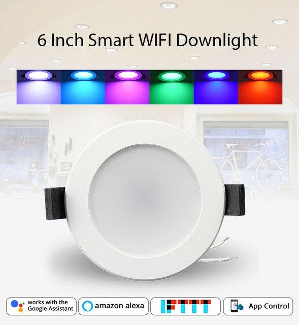 Inicio automatización 6 pulgadas WiFi bombilla Led Downlight Led 14 w Control de voz por Alexa eco punto mostrar Google asistente de IFTTT