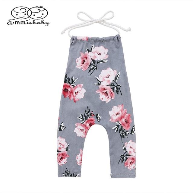 Emmababy Yaz Kolsuz Giyim Toddler Bebek Çocuk Kız Çiçek Dantel Halter çiçekli tulum Tulum Giysileri