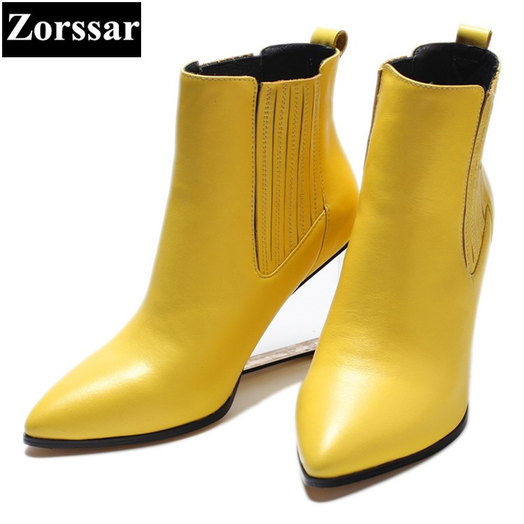 {Zorssar} 2017 NEW large size ladies shoes pointed Toe wedges ankle boots Fashion  Leather High heels womens short boots winter 2015 new design womens wedges heels pumps fashion pointed toe wood heel single shoes large size thick heels ladies shoes 34 43