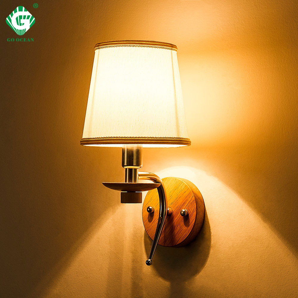 LED Bedside Wall Lamp E14 Bulb Fixtures Wood Aluminum Reading Light Fabric Glass wall Sconce Living Room Bedroom Indoor Lighting in LED Indoor Wall Lamps from Lights Lighting