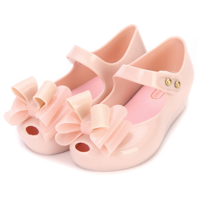 b9d3bbb2cf99 Mini Melissa 2019 Three Bows Jelly Girls Sandals New Girls Sandals Children Shoes  Shoes Jelly Baby Sandals 13-18CM High Quality