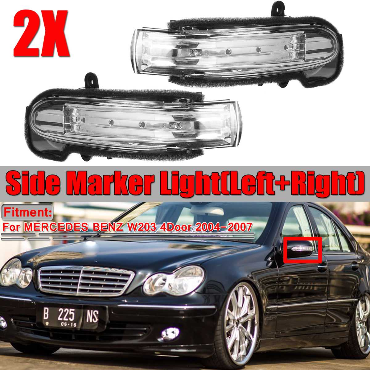 Car Side Marker Light Door Wing Rearview Mirror Turn Signal Indicator Side Light Lamp For Mercedes For Benz W203 4Door 2004-2007
