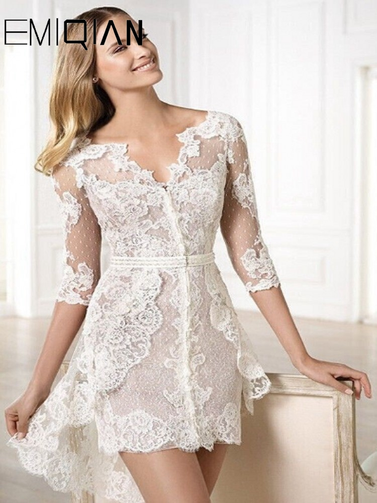 Beach Elegant Short Wedding Dresses 3/4 Sleeves Lace Wedding Gowns Tulle Hi Lo Bridal Gown