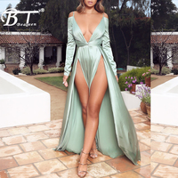 Beateen Sexy Fashion Loose Ankle Length Long Dress Deep V Bow Backless Sexy Club Party Satin Dress Long Sleeve
