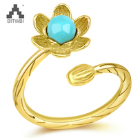 Delicate Real 925 Sterling Silver Natural Turquoise Flower Opening Rings for Women Vintage Gold Plated Ring Fine Jewelry