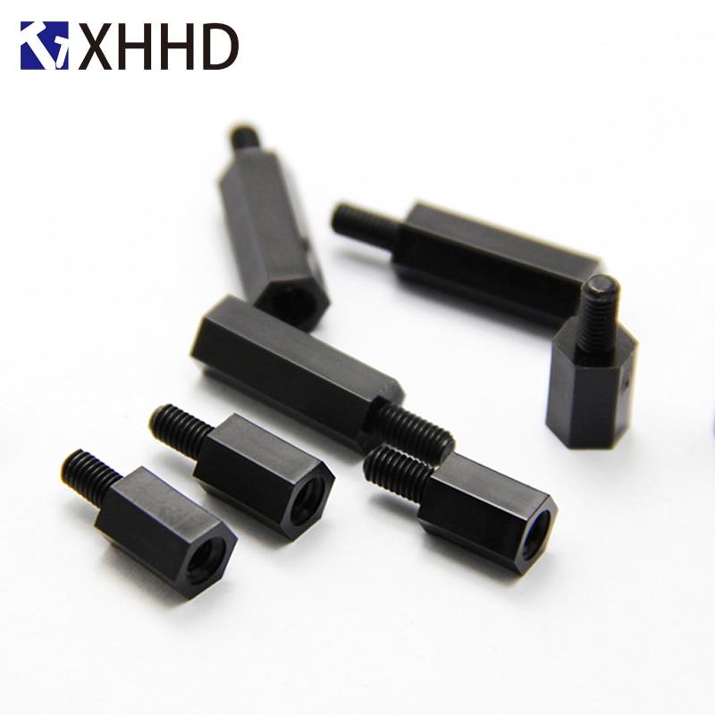 6mm Negro hilo distanciador tornillo de pl/ástico para la placa base fija Pilar de nylon Standoff espaciador M3 10Pcs M2-M4 * L 12mm