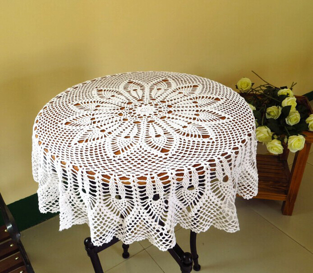 Superbe Hand Crochet Fish Woven Table Cloth Lace Hollow Round 90 Cm Cotton  Tablecloth Bedside Sofa Towel