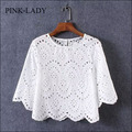 2016 Summer Blouse Shirt Women Half Sleeve O Neck Hollow Crochet Embroidery Lace Cotton Blouse Shirt White Tops Casual Clothing