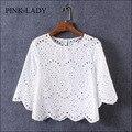 2016 camisa blusa del verano mujeres media manga cuello O hueco del ganchillo bordado de encaje de algodón camisa de la blusa blanca Tops ropa Casual