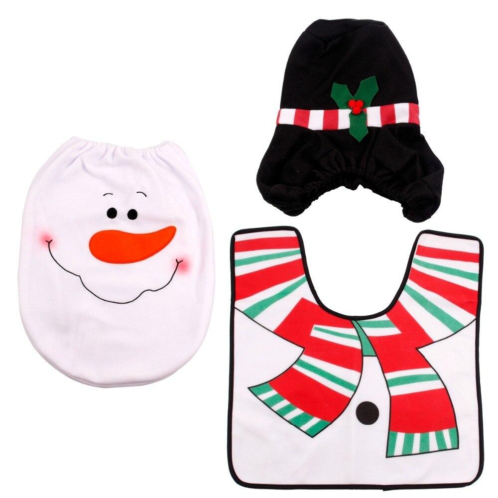 FENGRISE 3pcs Fancy Santa Claus Rug Seat Bathroom Set Contour Rug Santa toilet Christmas Decoration Navidad Xmas Party Supplies in Pendant Drop Ornaments from Home Garden