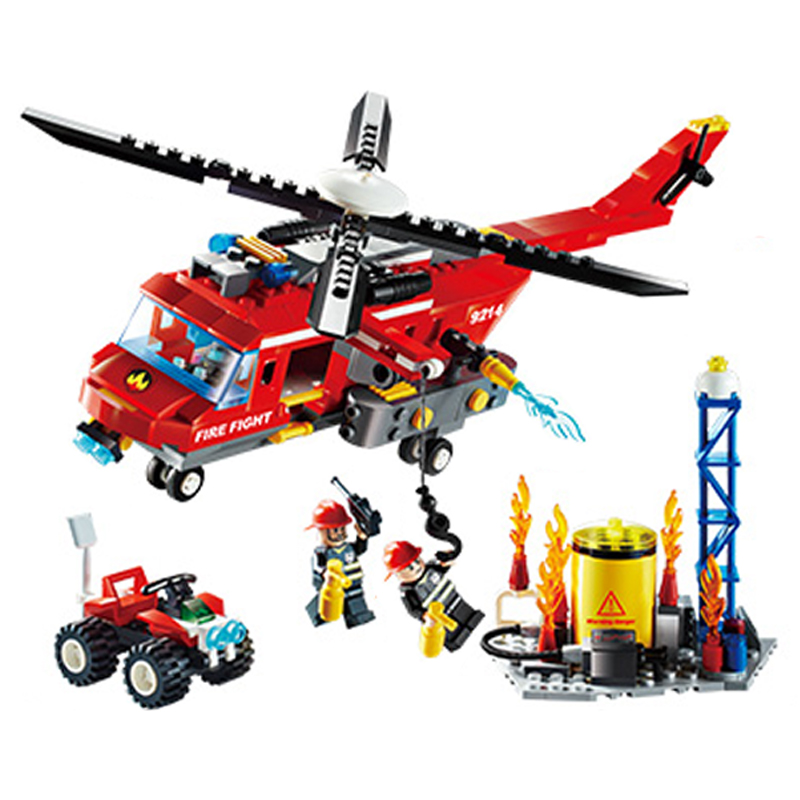 Free Shipping Fire Helicopter set Bricks Building Block Sets Models Educational Toys For Children 374pcs Compatible With toys jie star fire ladder truck 3 kinds deformations city fire series building block toys for children diy assembled block toy 22024