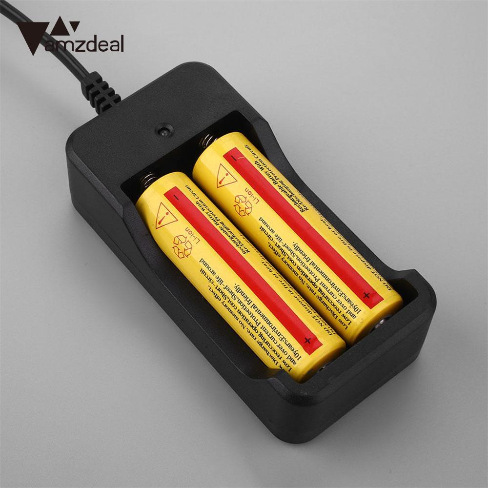 Amzdeal Battery Charger Self Stopping 2 Port Charger 18650 AA Lithium Batteries Charging Black Chargers US standrad