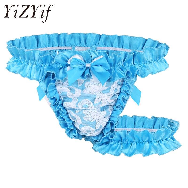YiZYiF Mens Satin Frilly Open Front Sissy Panties Bikini Crossdress Lingerie Thongs