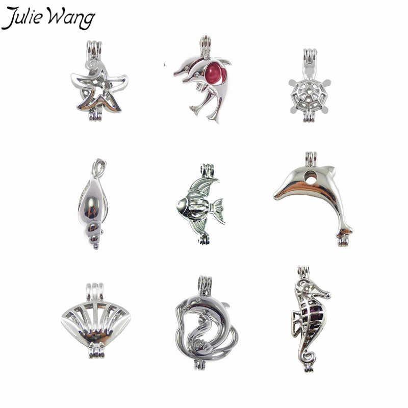 Julie Wang 9 ชิ้น Nautical Creature Dolphin Conch จี้ Pearl Bead Cage Locket สำหรับ DIY Essential Oil Diffuser สร้อยคอเครื่องประดับ