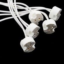 5/ 10 pces lâmpadas led titular base soquete mr11 mr116 gu5.3 g4 conector de fio halogênio
