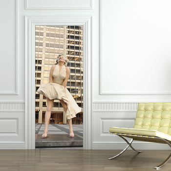 Marilyn Monroe Portrait Poster PVC Waterproof Entire Door Sticker Creative Stickers Door Wall Sticker For Bedroom Home Decor