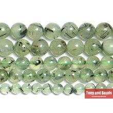 Bir kalite doğal taş yeşil prehnitler kuvars yuvarlak dağınık boncuklar 15