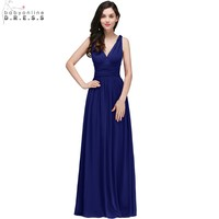 Royal Blue Long Chiffon Evening Dresses 2018 Sexy V Neck Simple Party Dresses Sleeveless Evening Gown