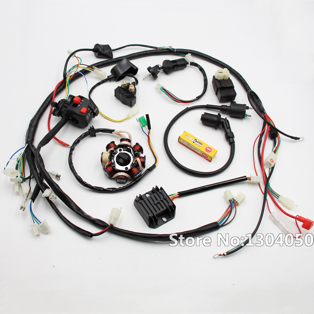 For 250cc Motorcycle Wiring Harness Diagrams Honda Gy6 150cc 200cc Full Electrics Stator Wire Universal